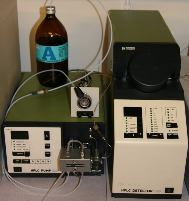 Kontron Isocratic HPLC System with mod. 420 pump and mod. 430 programmable detector.
